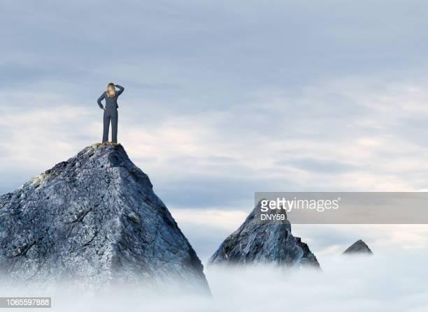 empresária de pé no topo da montanha - estabelecer uma ponte - fotografias e filmes do acervo
