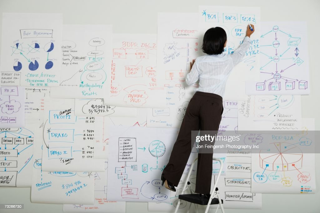 Businesswoman standing on step ladder writing on flow chart : Stock Photo