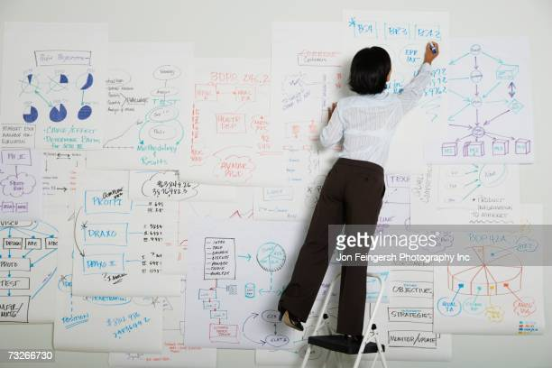 businesswoman standing on step ladder writing on flow chart - strategie stock-fotos und bilder