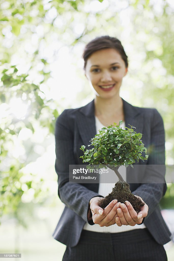 Businesswoman standing outdoors holding plant : Stock Photo