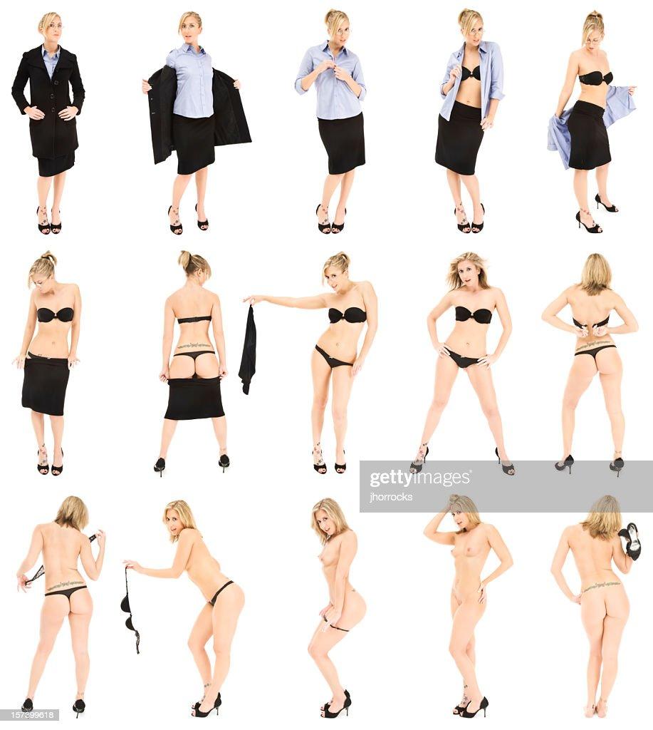 Businesswoman Striptease : Stockfoto