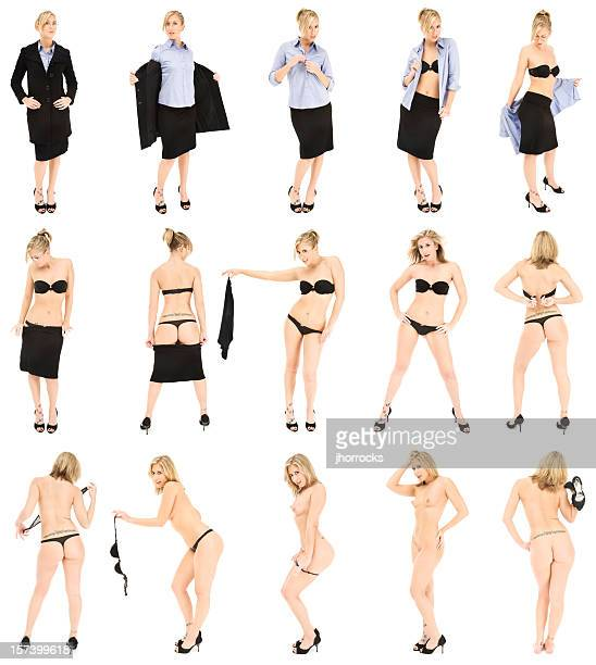 businesswoman striptease - dressed undressed women stockfoto's en -beelden