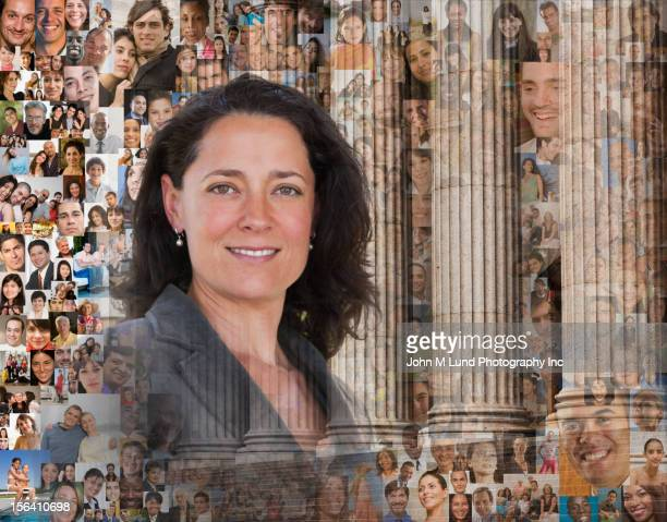 Businesswoman surrounded by images of people