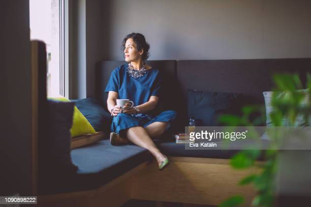 businesswoman taking a break - reflection stock pictures, royalty-free photos & images