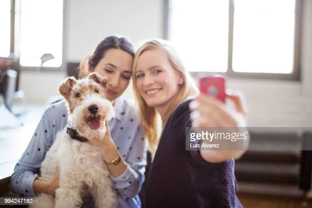 Businesswoman taking selfie with colleague and dog