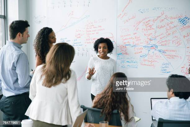 Businesswoman talking near whiteboard in meeting