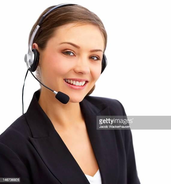 Femme d'affaires parler sur casque