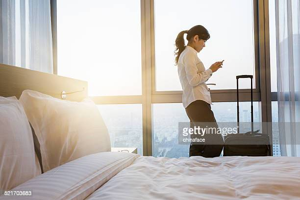 businesswoman  texting on the phone