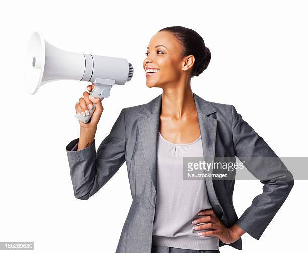 Businesswoman Using a Megaphone - Isolated