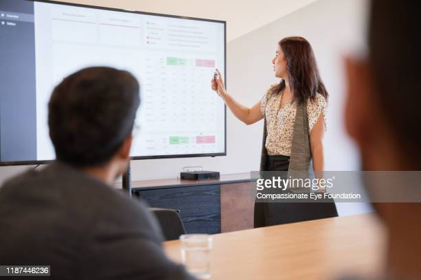 businesswoman using graphs on screen in business meeting - data stock pictures, royalty-free photos & images