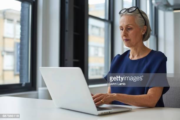 businesswoman using laptop computer - leanincollection stock pictures, royalty-free photos & images