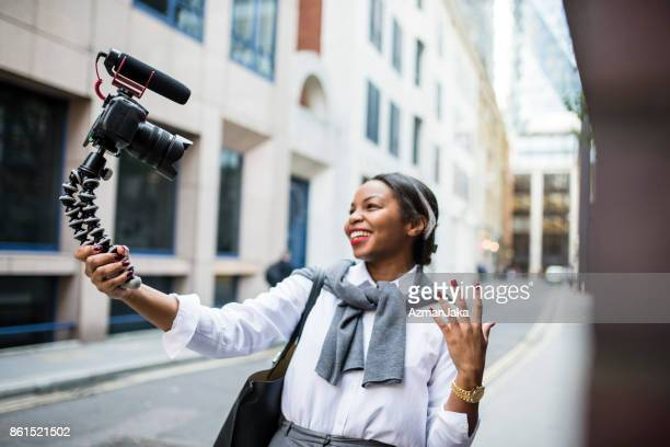 Businesswoman vlogging in London
