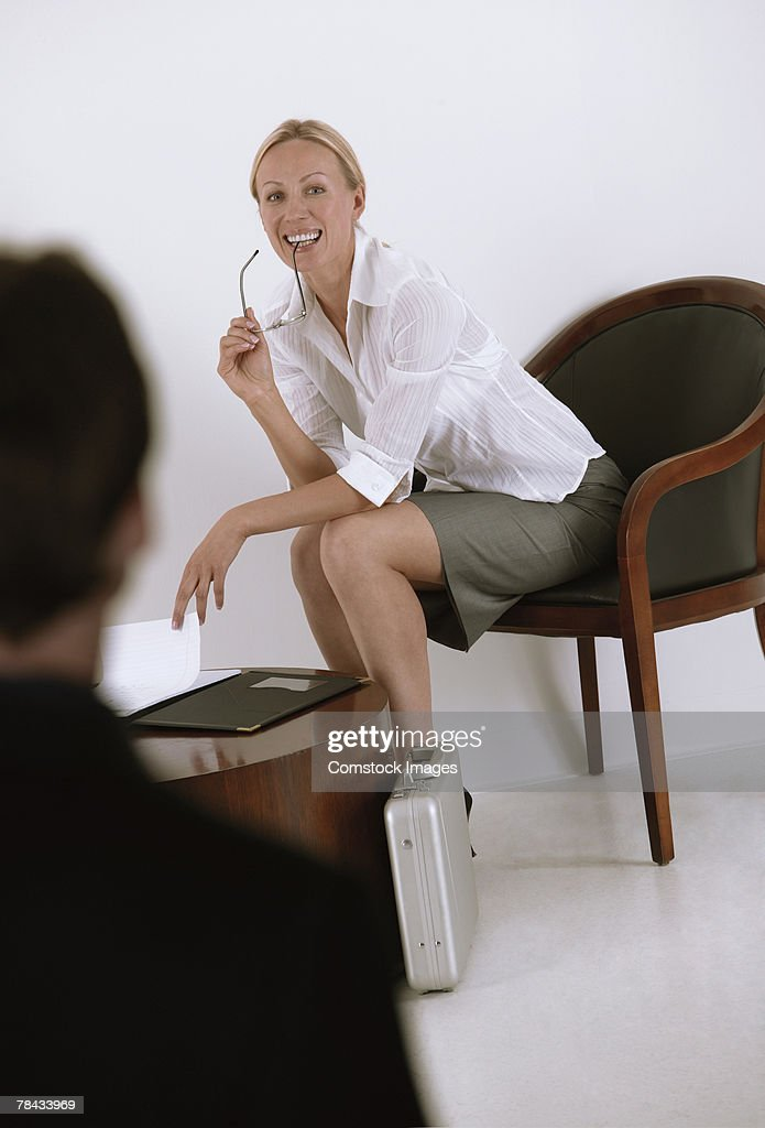 Businesswoman waiting for job interview : Stockfoto
