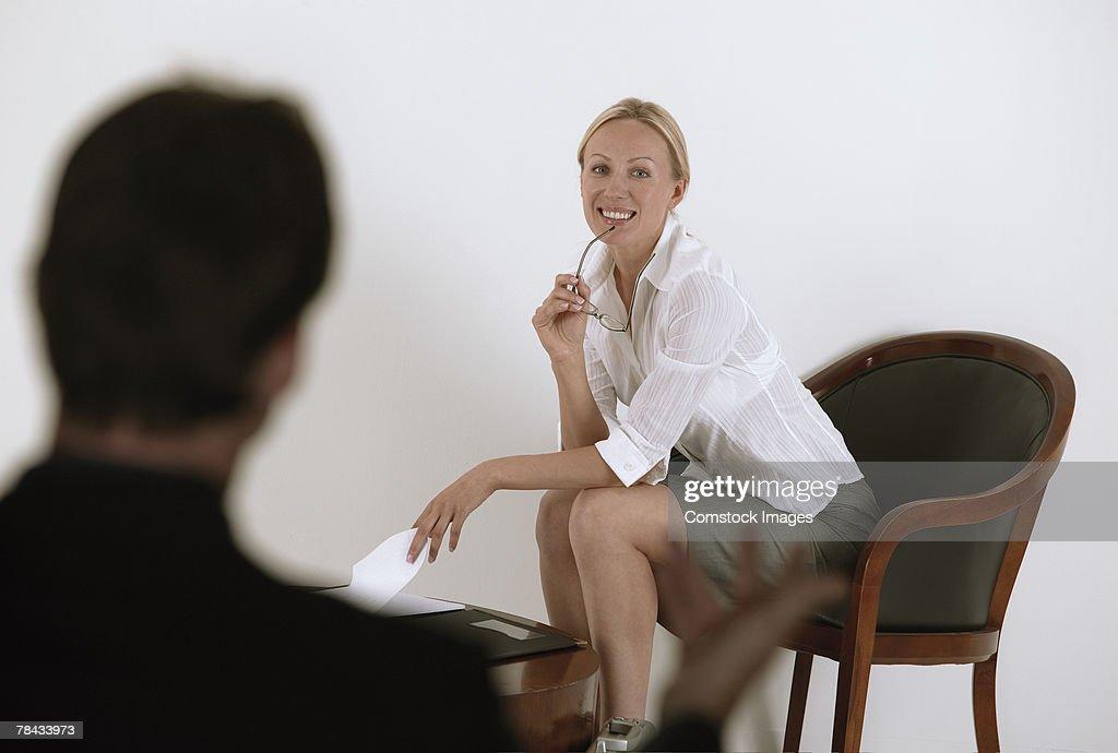 Businesswoman waiting for job interview : Stockfoto
