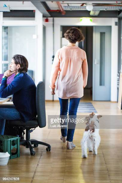 Businesswoman walking with dog by colleague