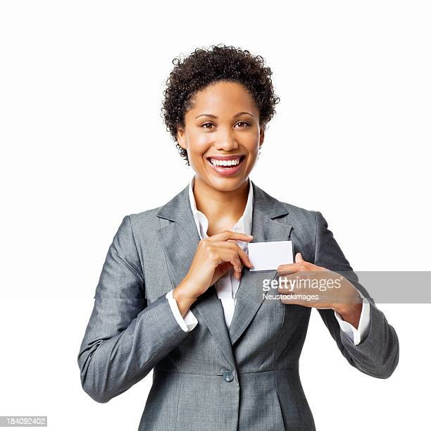Businesswoman Wearing a Name Tag - Isolated