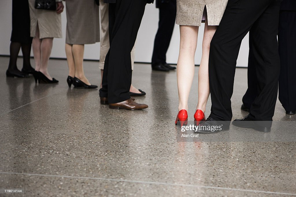 Businesswoman wearing red shoes : Stock Photo