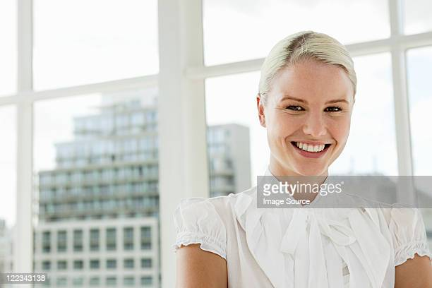 businesswoman wearing white blouse, portrait - blouse stock pictures, royalty-free photos & images