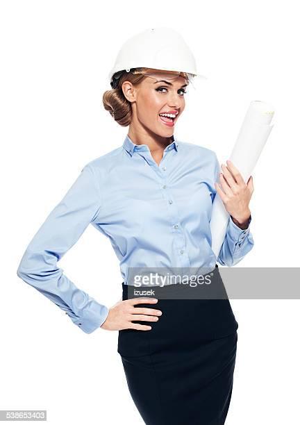 Mulher de Negócios usando Capacete de proteção branco