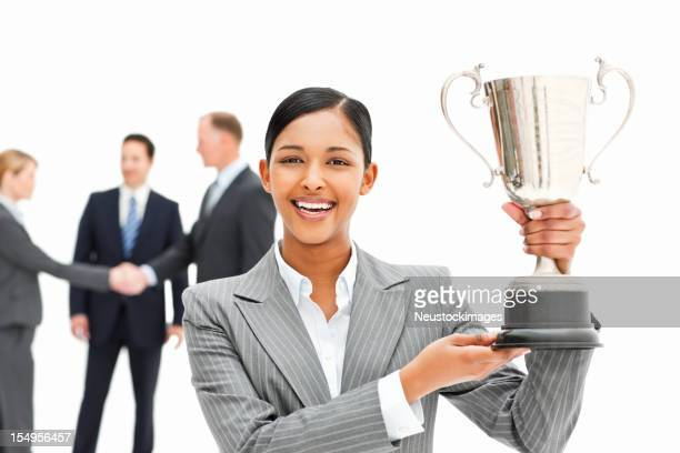 Businesswoman With a Trophy