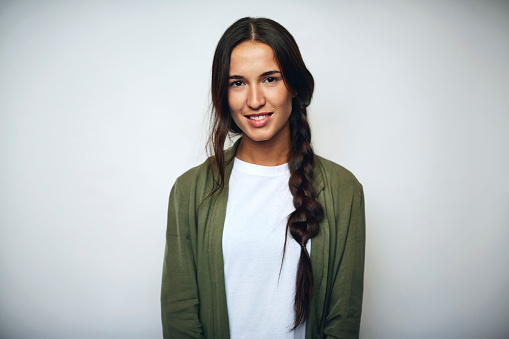 Businesswoman with braided hair over white 685132223