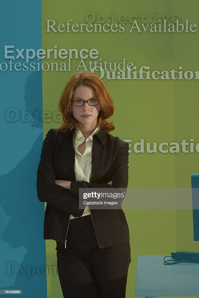Businesswoman with business qualities : Stockfoto