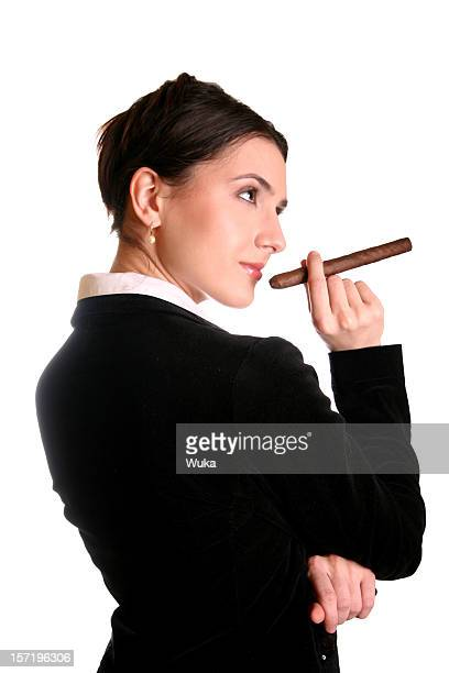 businesswoman with cigar - beautiful women smoking cigars stock photos and pictures