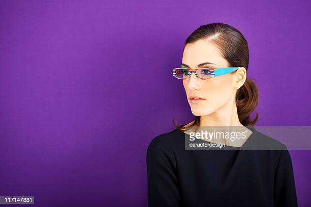 businesswoman with cool glasses - purple background stock photos and pictures
