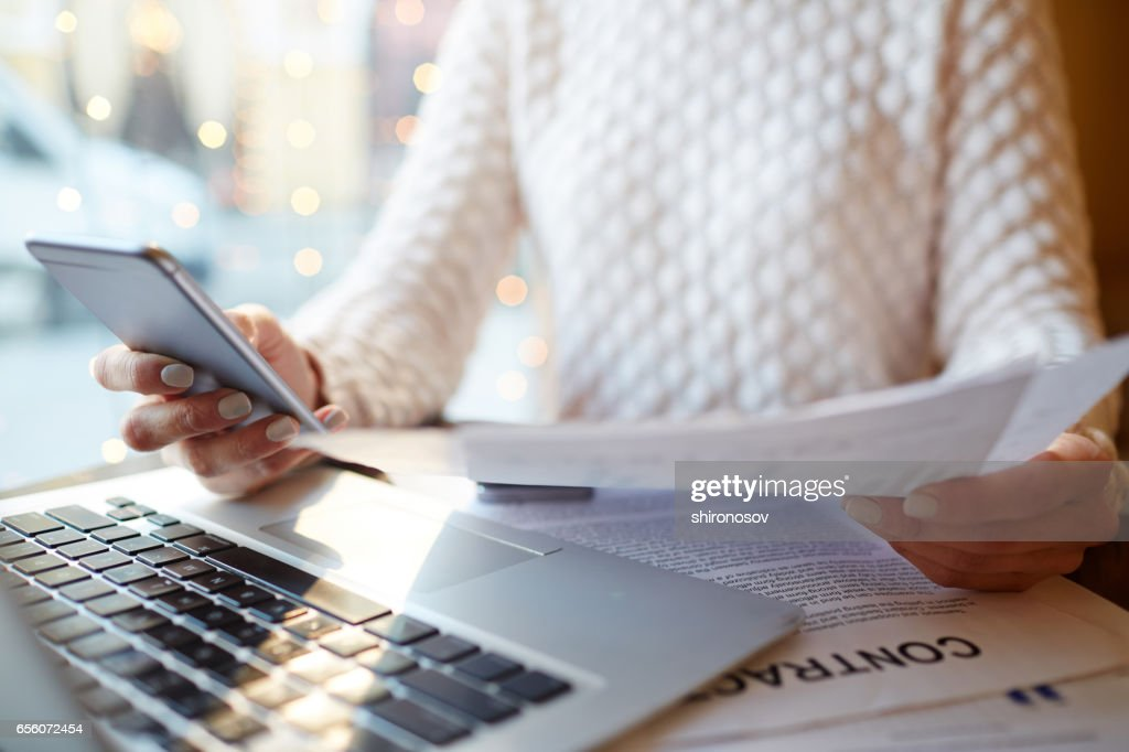 Businesswoman with Hands Full of Work : Stock Photo