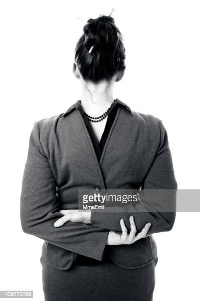 ヘッド背面に面したビジネスウーマン