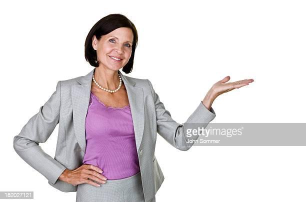 Geschäftsfrau mit Ihre hand für Textfreiraum