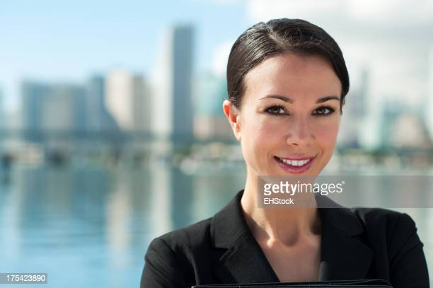 Businesswoman with Miami Skyline