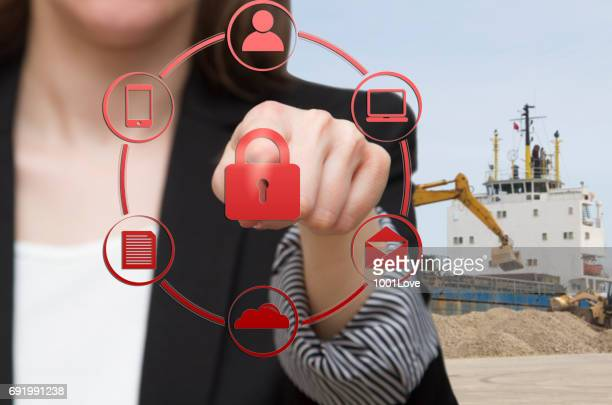 Businesswoman with round buttons for presentation