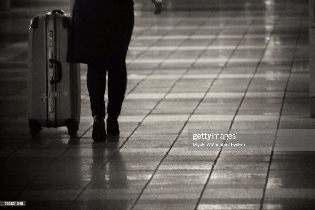 Businesswoman With Suitcase In Airport : Foto stock