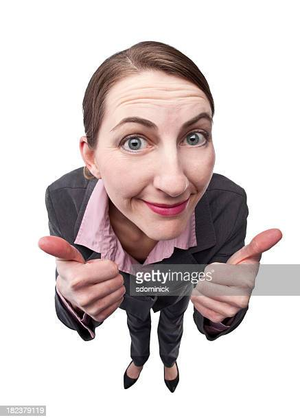 businesswoman with two thumbs up - fish eye lens stock pictures, royalty-free photos & images