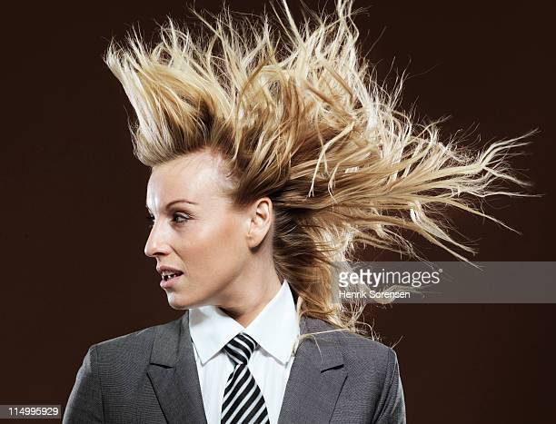 businesswoman with wind in her hair