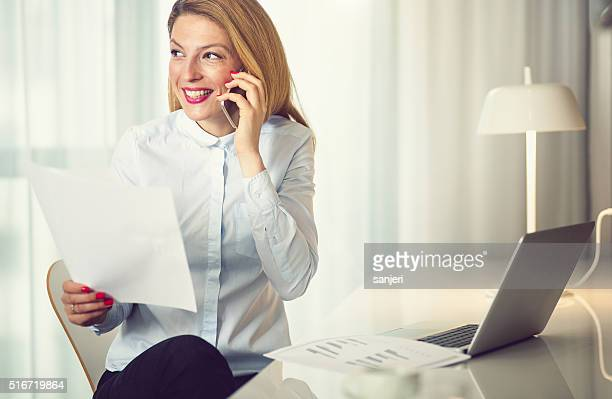 Businesswoman working at the hotel room
