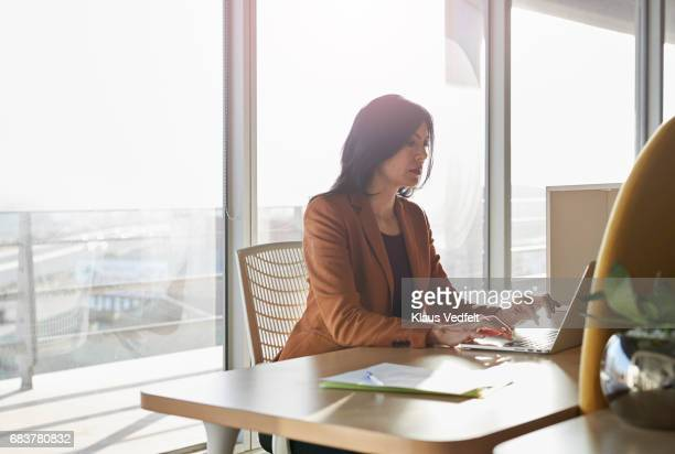 Businesswoman working in office booth