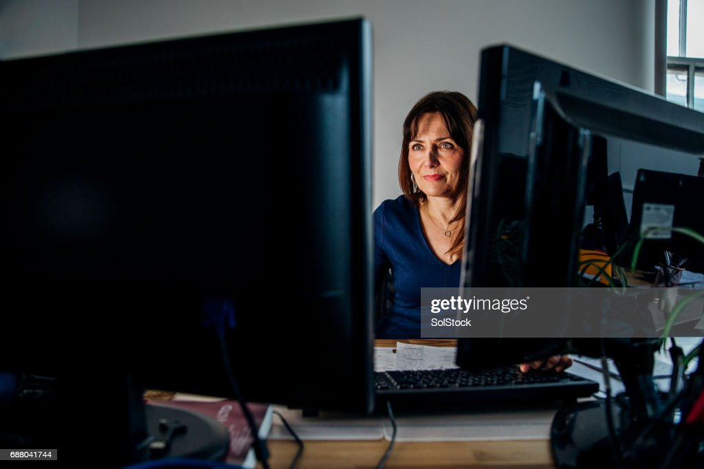 Businesswoman Working Late Again : Stock Photo