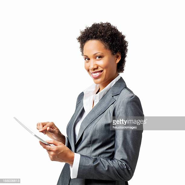 Businesswoman Working on a Tablet Computer - Isolated