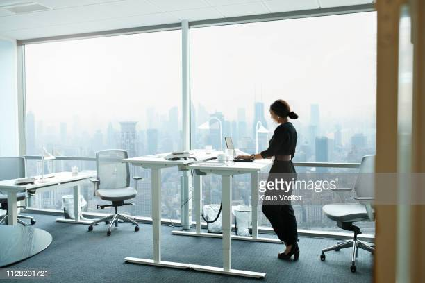 businesswoman working on computer in office with beautiful view of skyline - ergonomics stock photos and pictures