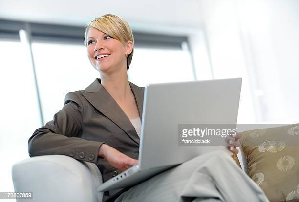 businesswoman working on sofa