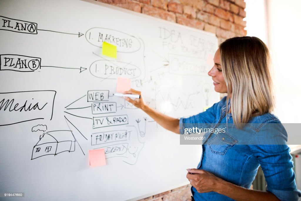 Businesswoman working on whiteboard at brick wall in office : Stock Photo
