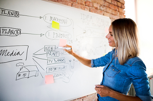 Businesswoman working on whiteboard at brick wall in office - gettyimageskorea