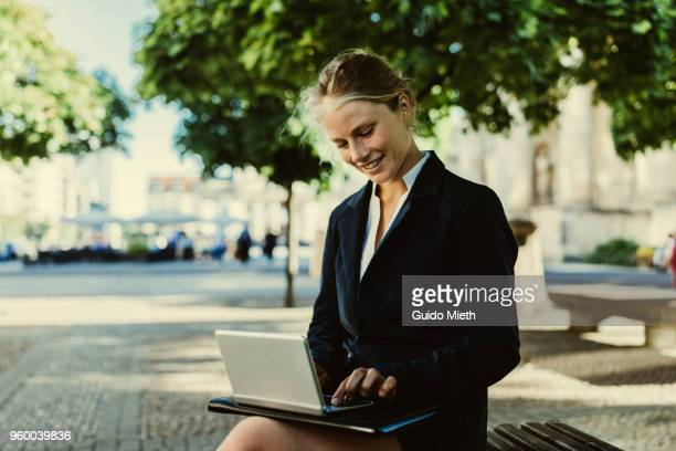 Businesswoman working with tablet pc.