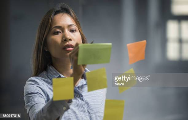 Businesswoman Writing on a Adhesive Note Sticked to the Glass
