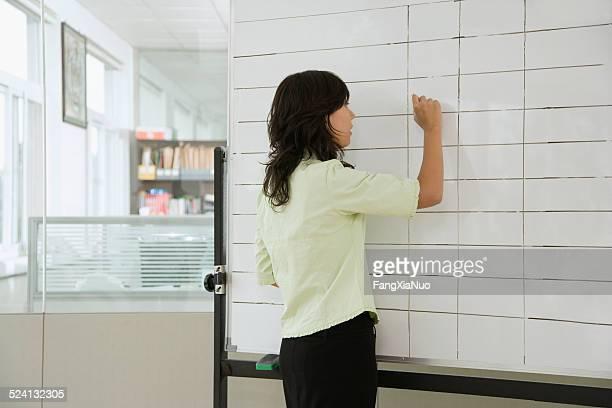 ビジネスウーマンの書き込みにフリップチャート、背面ビュー