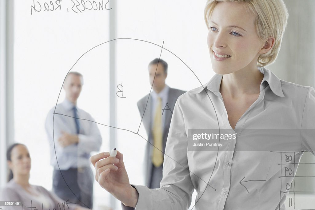 Businesswoman writing on glass wall in meeting : Stock-Foto