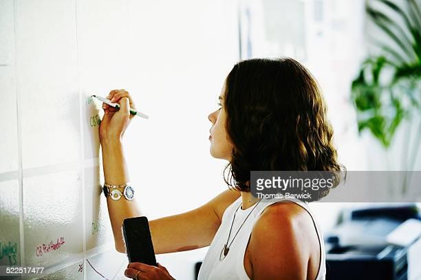Businesswoman writing on office whiteboard