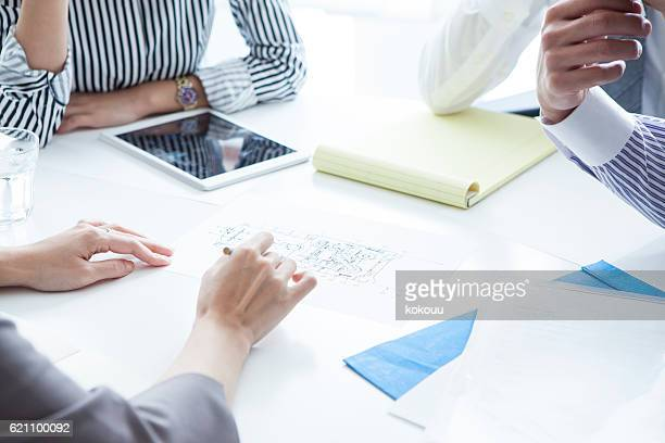 Businesswoman you are pointing to the documentation during the meeting